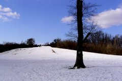 Sanki, śnieżna górka i rower